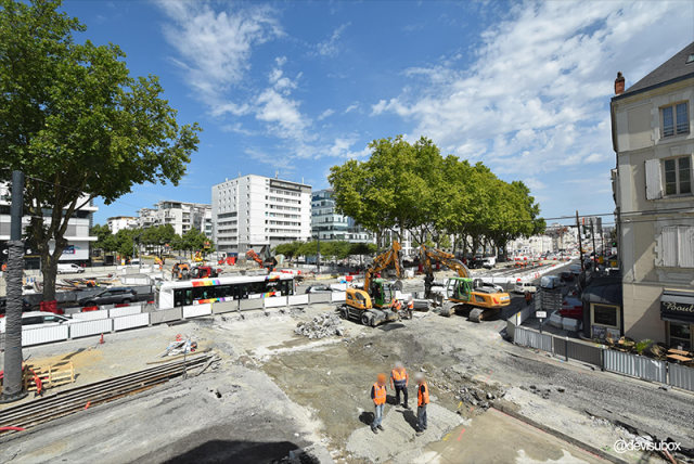 Angers : chantiers du Tramway (en cours)
